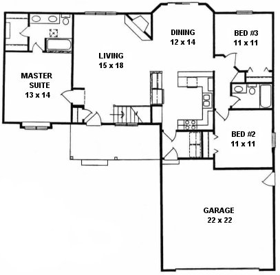 Plan # 1342 - Ranch | First floor plan