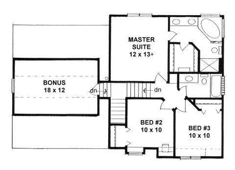 Plan # 1343 - 2-Story | Second floor plan