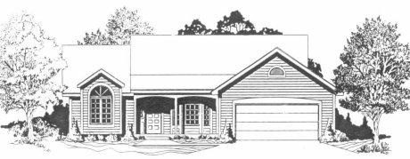 Plan # 1344 - Ranch   Large render view