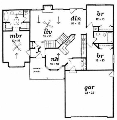 Plan # 1344 - Ranch | First floor plan