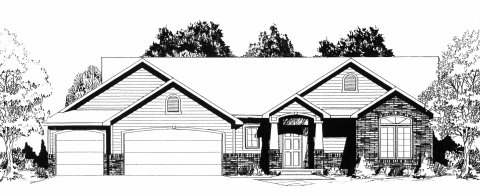 Plan # 1357 - Ranch | Large render view