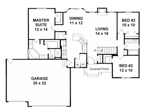 Plan # 1357 - Ranch | First floor plan