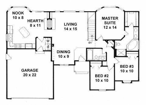 Plan # 1359 - Ranch | First floor plan