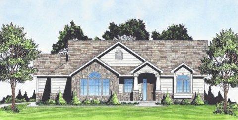 Plan # 1360 - Ranch | Large render view