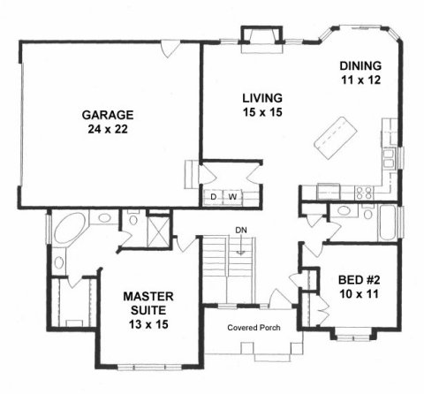 Plan # 1360 - Ranch | First floor plan