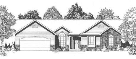 Plan # 1361 - Ranch   Large render view