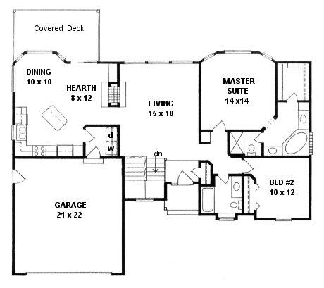 Plan # 1361 - Ranch | First floor plan
