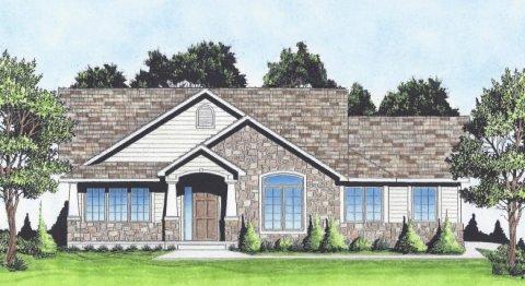 Plan # 1370 - Ranch | Large render view