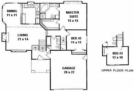 Plan # 1384 - Bi-Level | First floor plan
