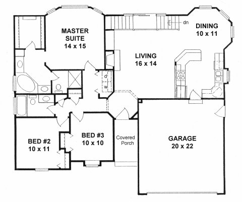Plan # 1388 - Ranch | First floor plan