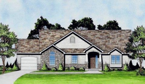 Plan # 1392 - Ranch | Large render view