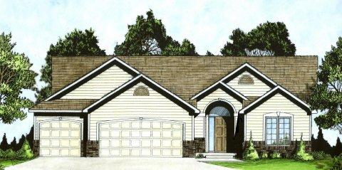 Plan # 1396 - Ranch   Large render view