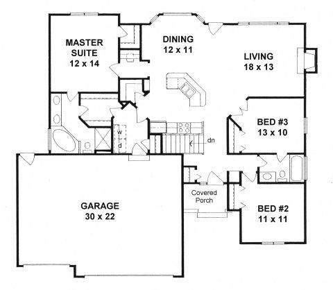 Plan # 1396 - Ranch   First floor plan