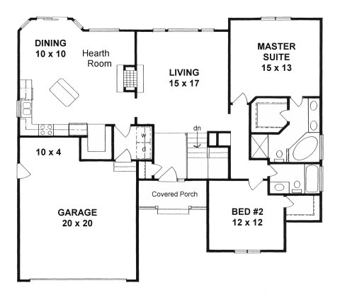 Plan 1400 2 bedroom ranch w hearth room and walk in pantry for House plans under 1400 sq ft