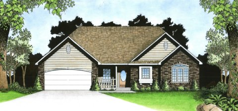 Plan # 1401 - Ranch | Large render view