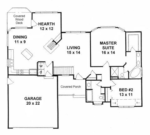 Plan # 1401 - Ranch | First floor plan