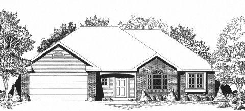Plan # 1406 - Ranch | Large render view