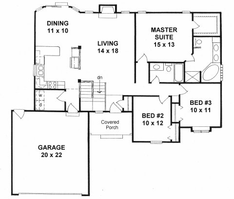 Plan # 1406 - Ranch | First floor plan