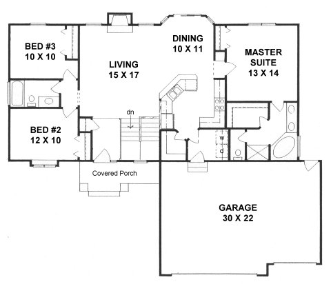 Plan # 1417 - Ranch | First floor plan