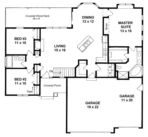 Plan 1418 3 bed 2 bath open ranch with three car garage for Ranch style home plans with 3 car garage
