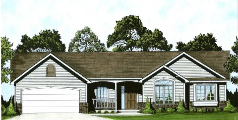 Plan # 1420 - Ranch | Large render view