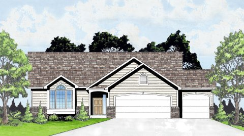 Plan # 1424 - Ranch | Large render view