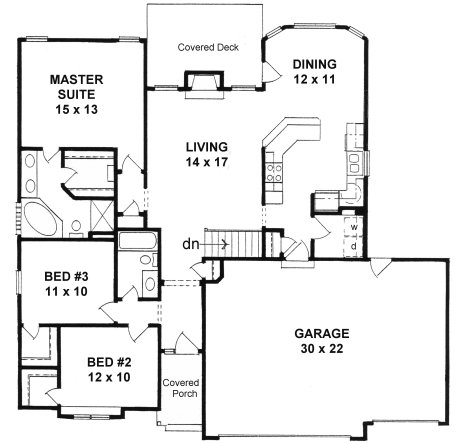 Plan 1424 3 bedroom narrow lot ranch w 3 car garage Small house plans with 3 car garage
