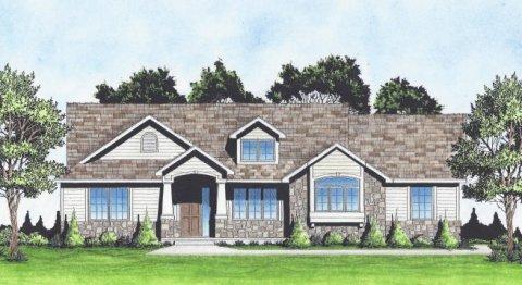 Plan # 1425 - Ranch | Large render view