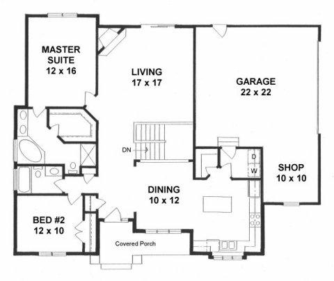 Plan # 1425 - Ranch | First floor plan