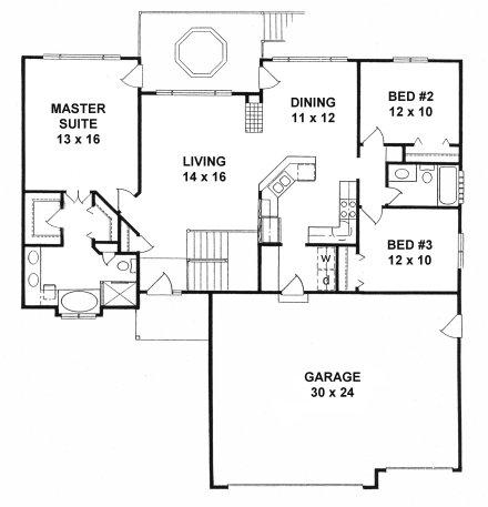 Plan # 1427 - Ranch | First floor plan