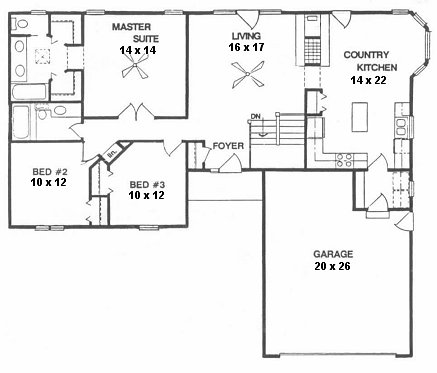 Plan # 1440 - Ranch | First floor plan