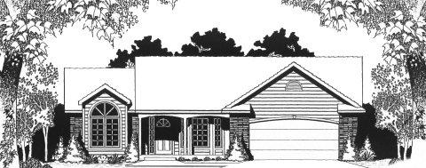 Plan # 1445 - Ranch | Large render view