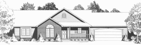 Plan # 1450 - Ranch | Large render view