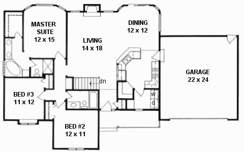 Plan # 1450 - Ranch | First floor plan