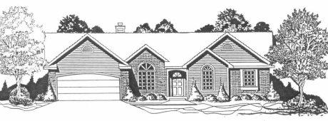 Plan # 1459 - Ranch | Large render view