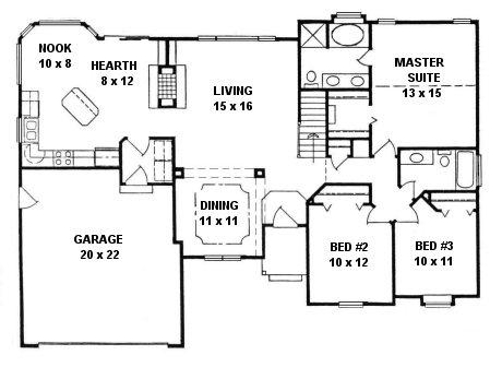 Plan # 1459 - Ranch | First floor plan