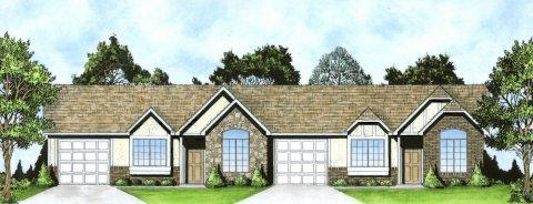 Plan # 1462d - Duplex Ranch | Large render view