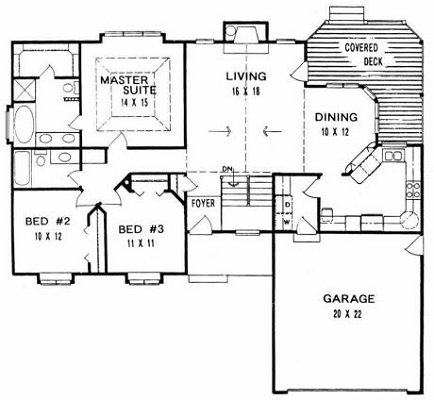 Plan # 1463 - Ranch | First floor plan