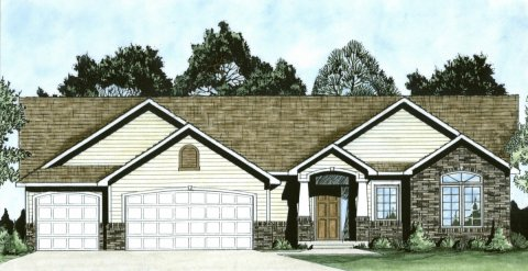 Plan # 1464 - Ranch | Large render view
