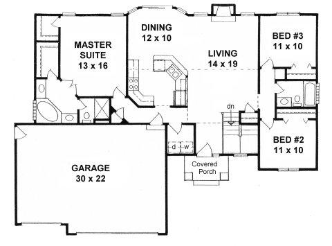 Plan # 1464 - Ranch | First floor plan