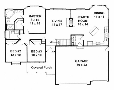 Plan 1465 3 bedroom ranch w bay windows 3 car garage for House plans with hearth room