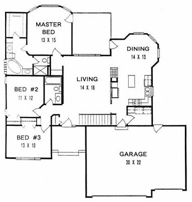 Plan # 1475 - Ranch | First floor plan