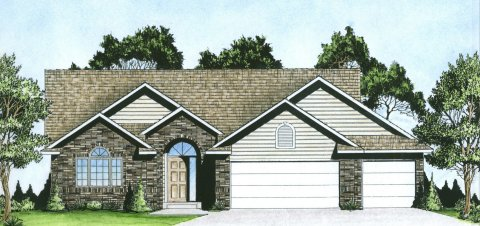 Plan # 1476 - Ranch   Large render view