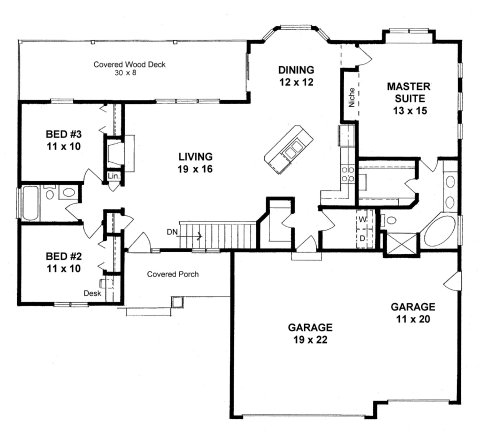 Plan 1500 3 bed 2 bath open ranch with covered deck for 1500 sq ft duplex house plans