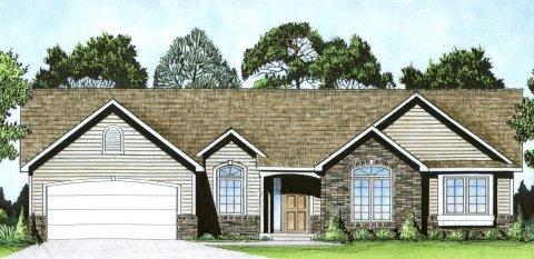 Plan # 1504 - Ranch   Large render view