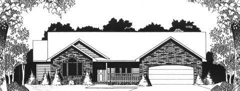 Plan # 1525 - Ranch | Large render view