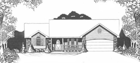 Plan # 1526 - Ranch | Large render view