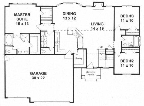Plan # 1527 - Ranch | First floor plan