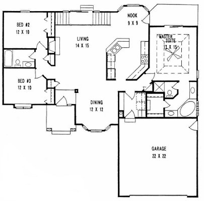 Plan # 1533 - Ranch | First floor plan