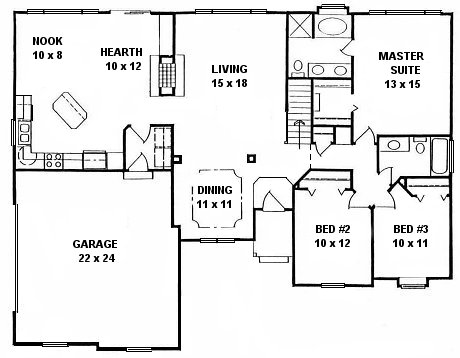 Plan # 1541 - Ranch | First floor plan
